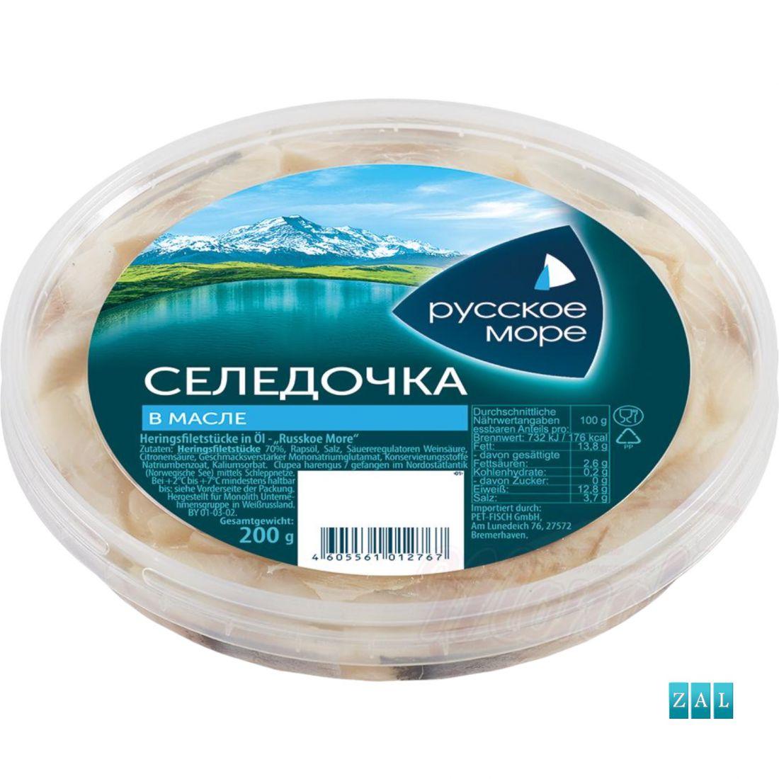 """Russzkoje More"" darabos heringfilé olajban 200g"