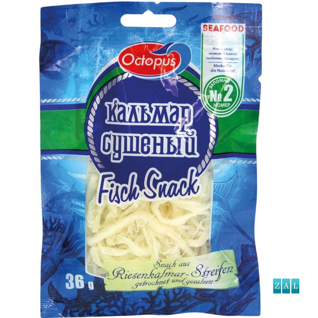 Snack- sózott, szárított tintahal csíkokból 36g