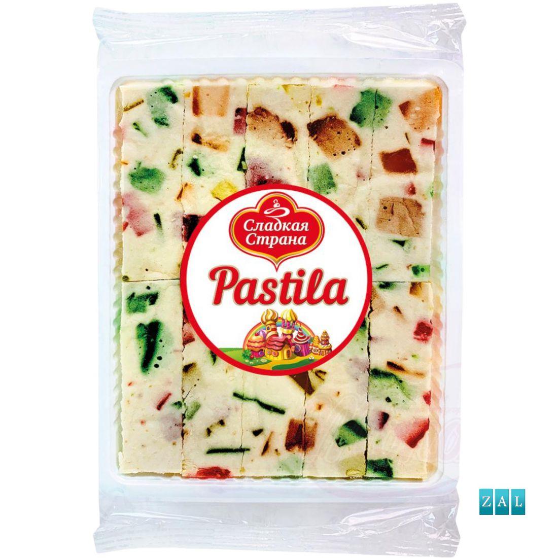 """""""Pastila"""" habcukor zselés darabokkal (18%) vanília, narancs, citrom, cseresznye és zöld alma ízzel. 250g"""