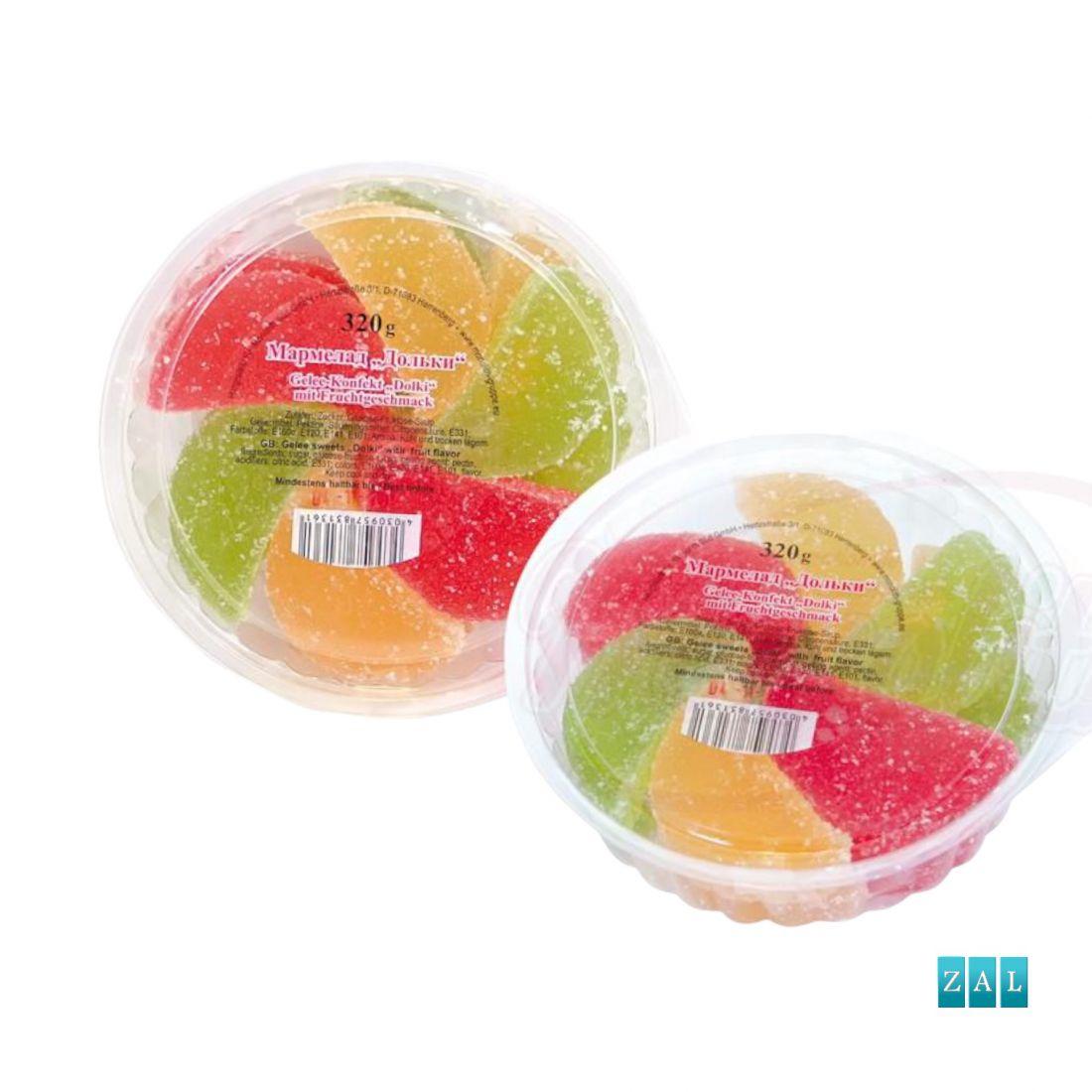 """""""Marmeladnie dolki"""" zselédesszert gyümölcsös ízesítéssel 320g"""